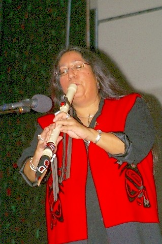 Mary Youngblood playing her Northwest Raven Flute